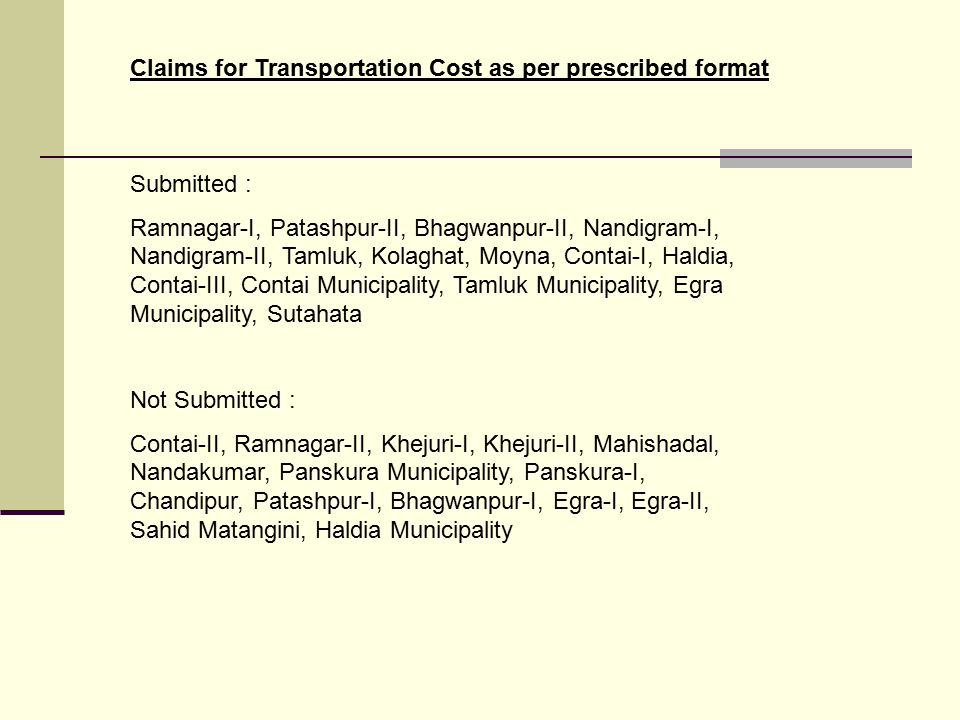 Claims for Transportation Cost as per prescribed format Submitted : Ramnagar-I, Patashpur-II, Bhagwanpur-II, Nandigram-I, Nandigram-II, Tamluk, Kolaghat, Moyna, Contai-I, Haldia, Contai-III, Contai Municipality, Tamluk Municipality, Egra Municipality, Sutahata Not Submitted : Contai-II, Ramnagar-II, Khejuri-I, Khejuri-II, Mahishadal, Nandakumar, Panskura Municipality, Panskura-I, Chandipur, Patashpur-I, Bhagwanpur-I, Egra-I, Egra-II, Sahid Matangini, Haldia Municipality