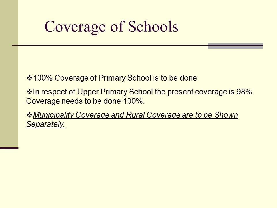Coverage of Schools  100% Coverage of Primary School is to be done  In respect of Upper Primary School the present coverage is 98%.