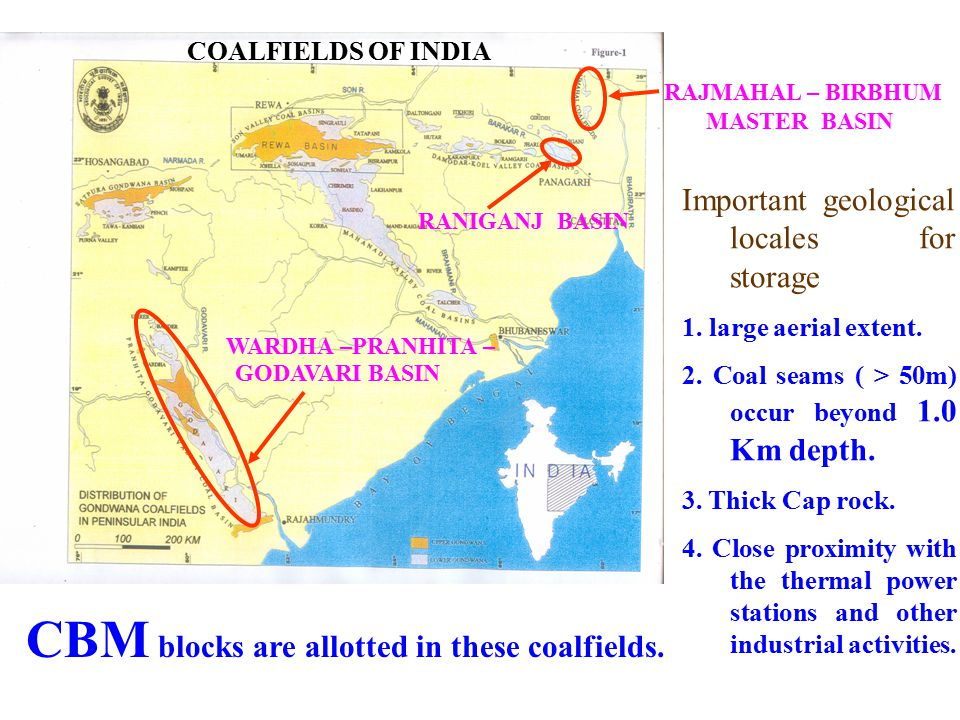 RANIGANJ BASIN RAJMAHAL – BIRBHUM MASTER BASIN WARDHA –PRANHITA – COALFIELDS OF INDIA Important geological locales for storage 1.