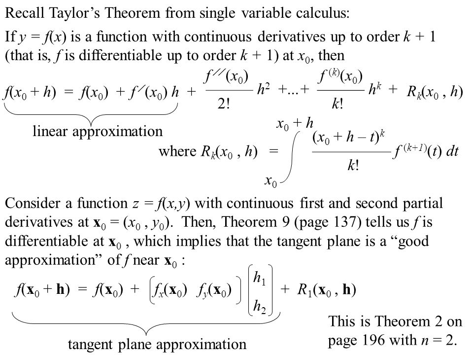 Recall Taylor's Theorem from single variable calculus: If y = f(x) is a function with continuous derivatives up to order k + 1 (that is, f is differen