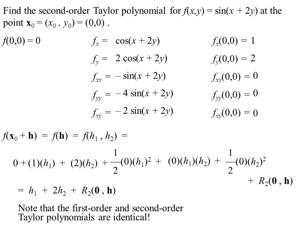 Find the second-order Taylor polynomial for f(x,y) = sin(x + 2y) at the point x 0 = (x 0, y 0 ) = (0,0). f(0,0) =f x =f x (0,0) = f y =f y (0,0) = f x
