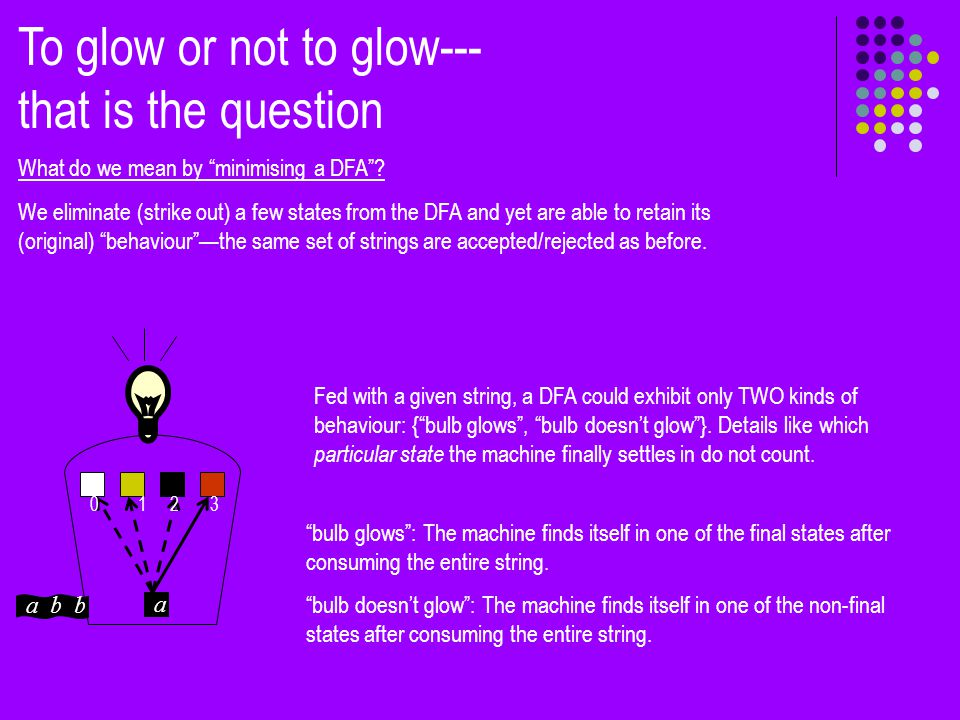 To glow or not to glow--- that is the question What do we mean by minimising a DFA .