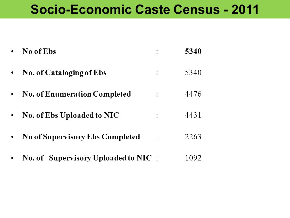 Socio-Economic Caste Census - 2011 No of Ebs :5340 No.