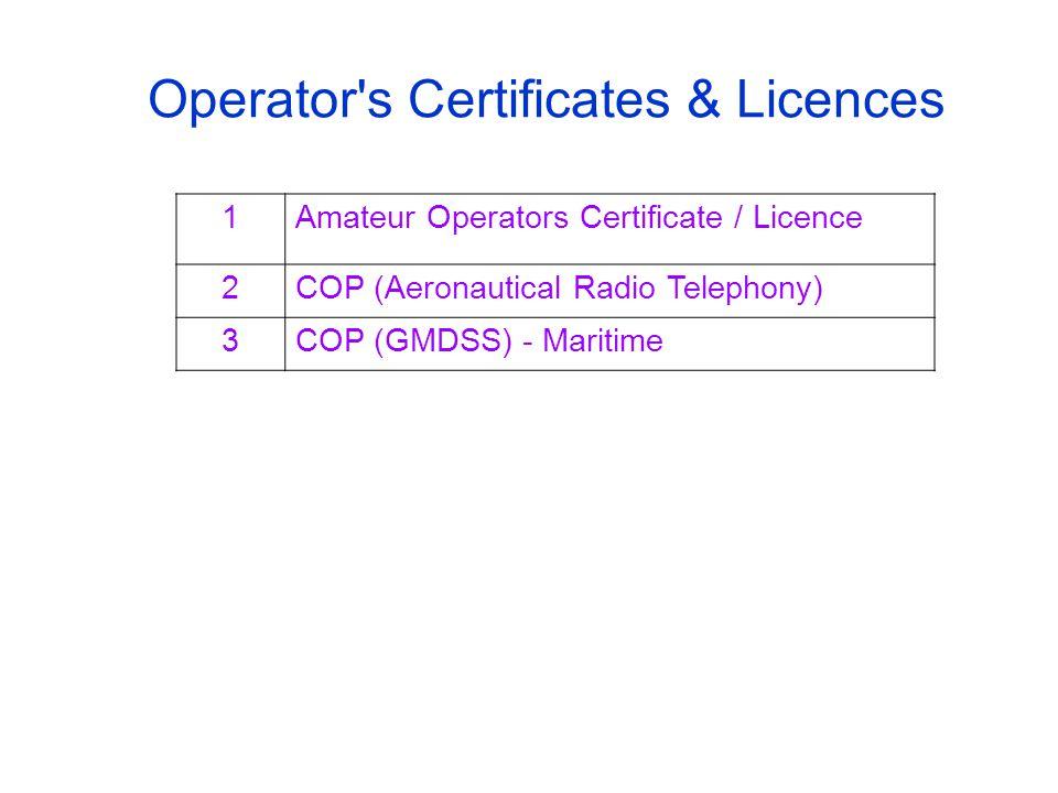 Operator s Certificates & Licences 1Amateur Operators Certificate / Licence 2COP (Aeronautical Radio Telephony) 3COP (GMDSS) - Maritime