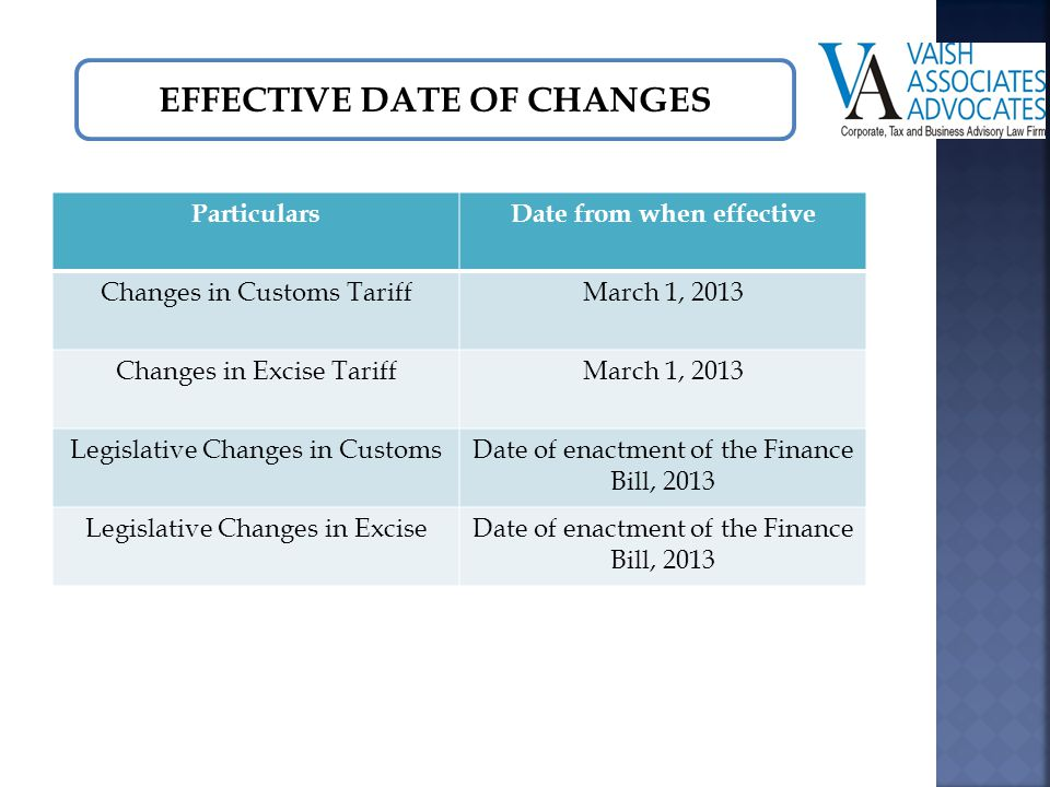 EFFECTIVE DATE OF CHANGES ParticularsDate from when effective Changes in Customs TariffMarch 1, 2013 Changes in Excise TariffMarch 1, 2013 Legislative Changes in CustomsDate of enactment of the Finance Bill, 2013 Legislative Changes in ExciseDate of enactment of the Finance Bill, 2013