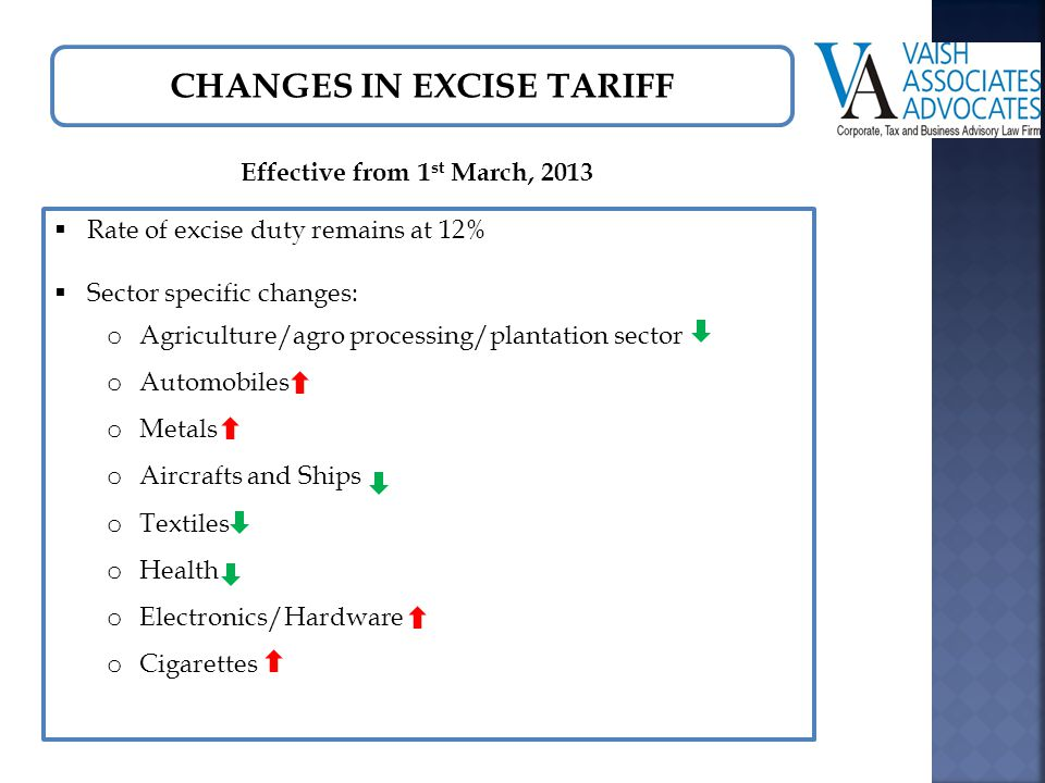 CHANGES IN EXCISE TARIFF Effective from 1 st March, 2013  Rate of excise duty remains at 12%  Sector specific changes: o Agriculture/agro processing/plantation sector o Automobiles o Metals o Aircrafts and Ships o Textiles o Health o Electronics/Hardware o Cigarettes