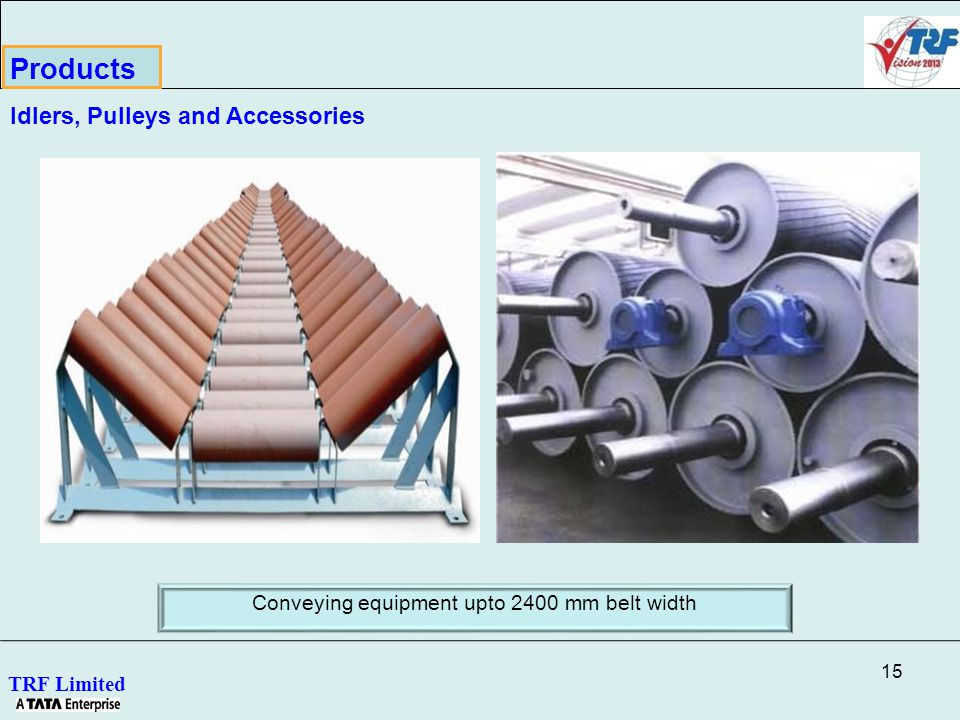 15 TRF Limited Conveying equipment upto 2400 mm belt width Products Idlers, Pulleys and Accessories