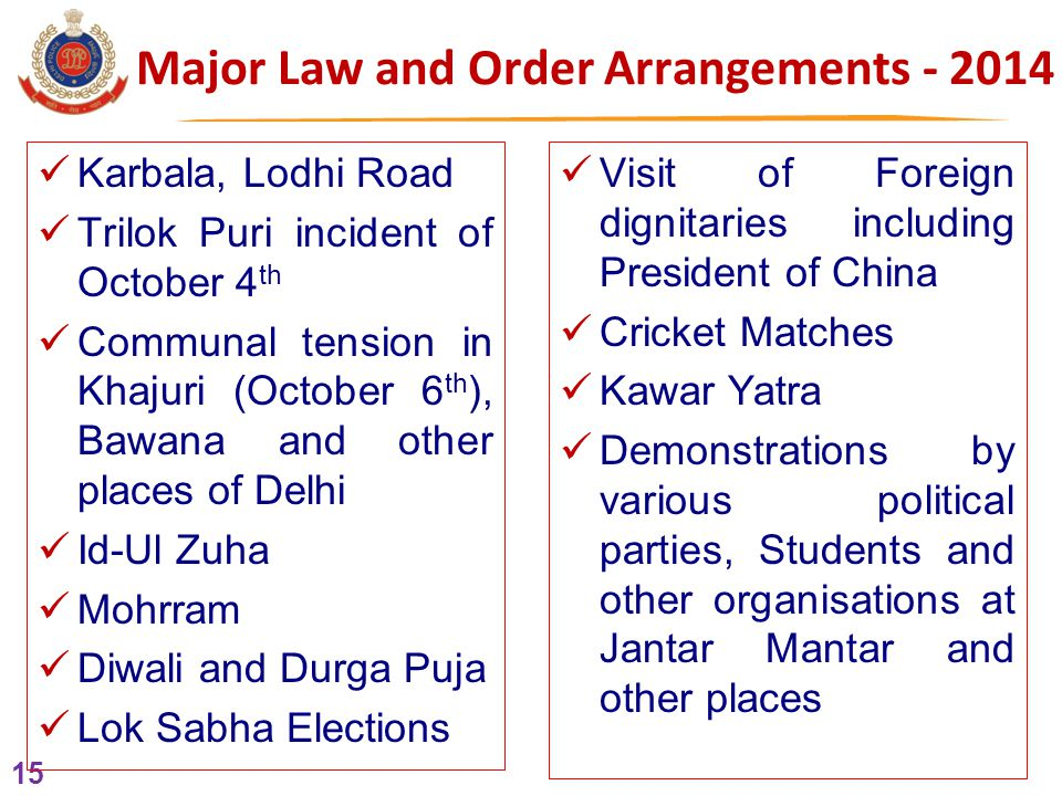 15 Major Law and Order Arrangements - 2014 Karbala, Lodhi Road Trilok Puri incident of October 4 th Communal tension in Khajuri (October 6 th ), Bawana and other places of Delhi Id-Ul Zuha Mohrram Diwali and Durga Puja Lok Sabha Elections Visit of Foreign dignitaries including President of China Cricket Matches Kawar Yatra Demonstrations by various political parties, Students and other organisations at Jantar Mantar and other places