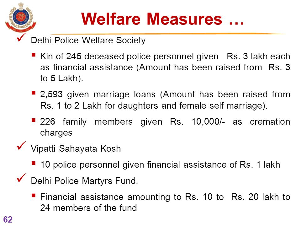 62 Delhi Police Welfare Society  Kin of 245 deceased police personnel given Rs.