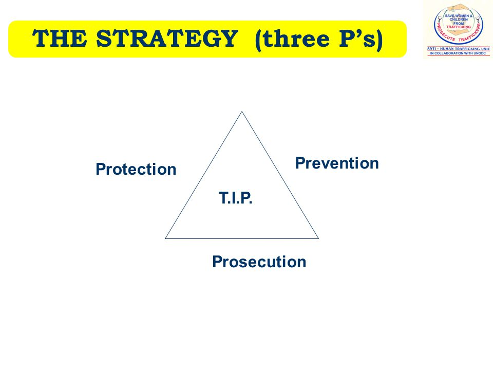 THE STRATEGY (three P's) Protection Prevention Prosecution T.I.P.