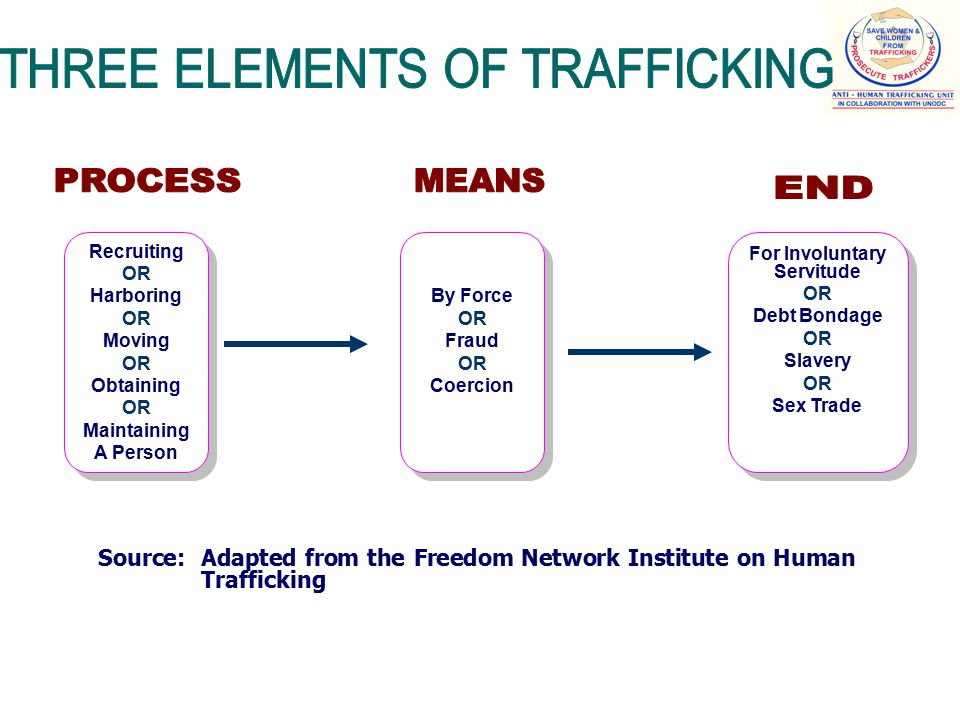 Recruiting OR Harboring OR Moving OR Obtaining OR Maintaining A Person Recruiting OR Harboring OR Moving OR Obtaining OR Maintaining A Person By Force OR Fraud OR Coercion By Force OR Fraud OR Coercion For Involuntary Servitude OR Debt Bondage OR Slavery OR Sex Trade For Involuntary Servitude OR Debt Bondage OR Slavery OR Sex Trade Source: Adapted from the Freedom Network Institute on Human Trafficking