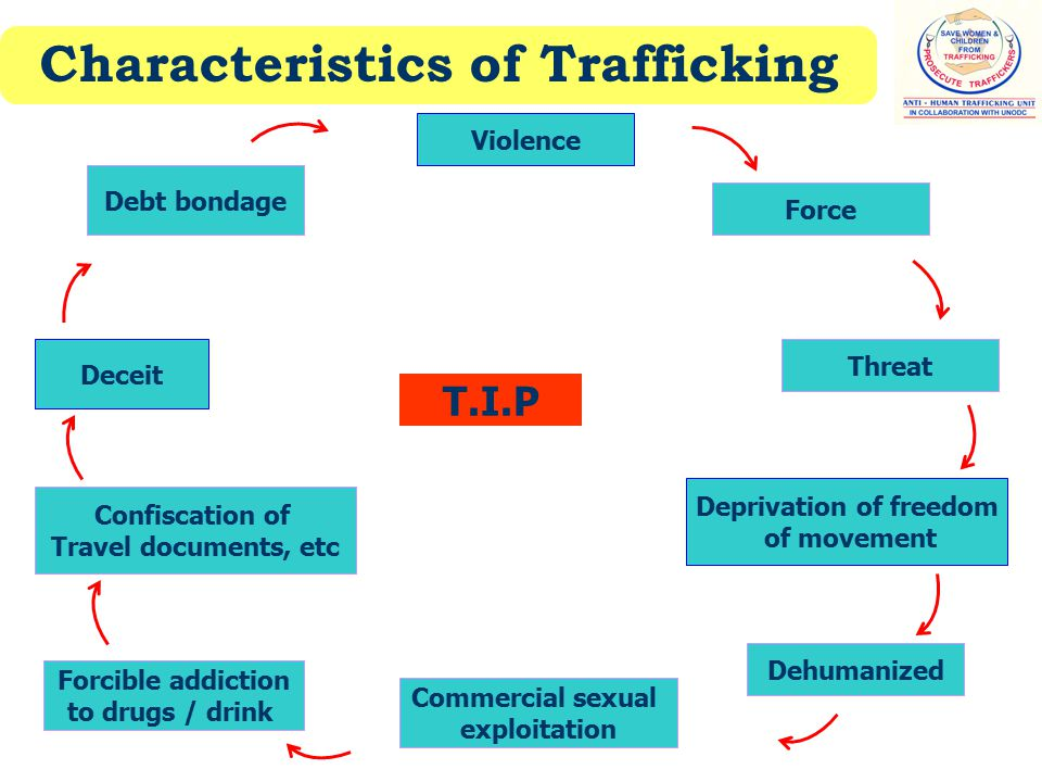 Characteristics of Trafficking Violence Threat Deprivation of freedom of movement Commercial sexual exploitation Confiscation of Travel documents, etc Debt bondage Deceit T.I.P Force Forcible addiction to drugs / drink Dehumanized