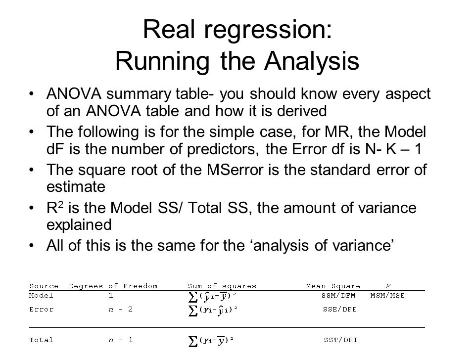 Real regression: Running the Analysis ANOVA summary table- you should know every aspect of an ANOVA table and how it is derived The following is for the simple case, for MR, the Model dF is the number of predictors, the Error df is N- K – 1 The square root of the MSerror is the standard error of estimate R 2 is the Model SS/ Total SS, the amount of variance explained All of this is the same for the 'analysis of variance'