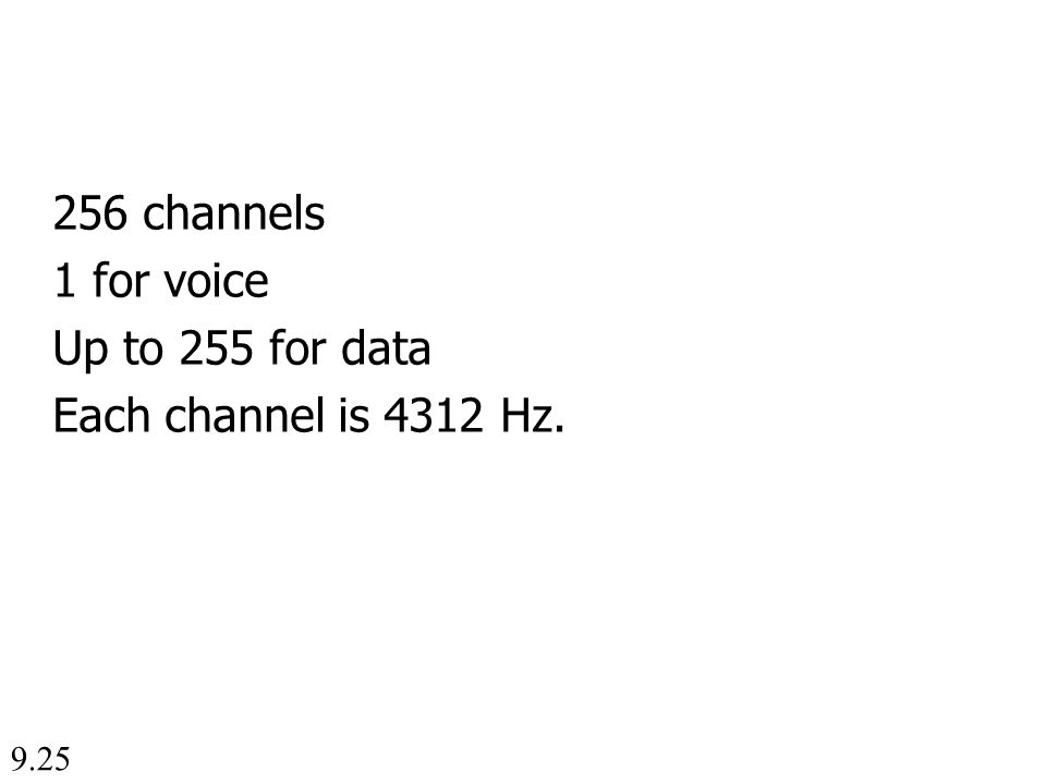 9.25 256 channels 1 for voice Up to 255 for data Each channel is 4312 Hz.