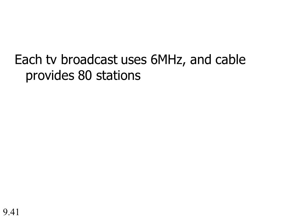 9.41 Each tv broadcast uses 6MHz, and cable provides 80 stations