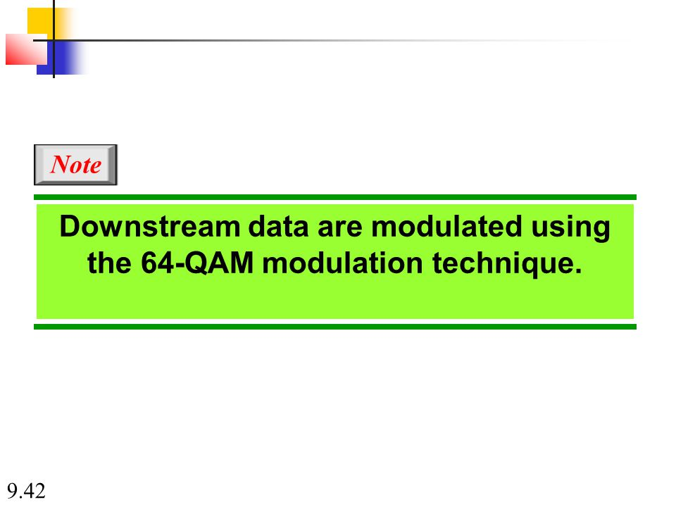 9.42 Downstream data are modulated using the 64-QAM modulation technique. Note