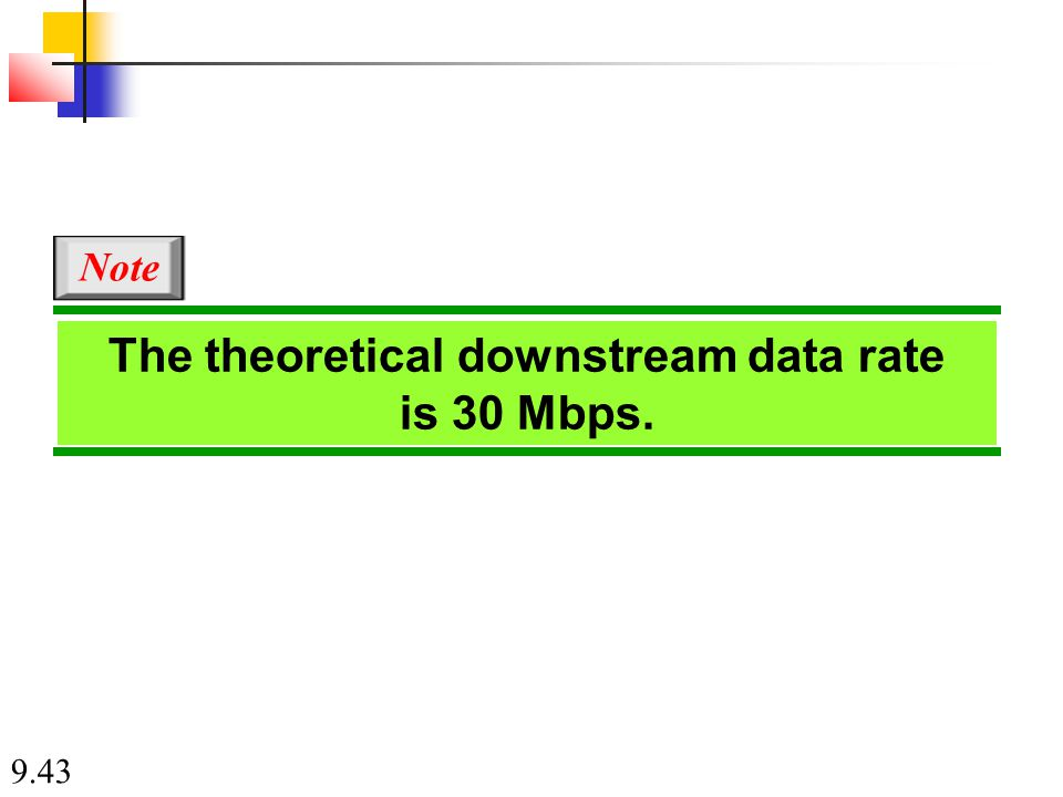 9.43 The theoretical downstream data rate is 30 Mbps. Note
