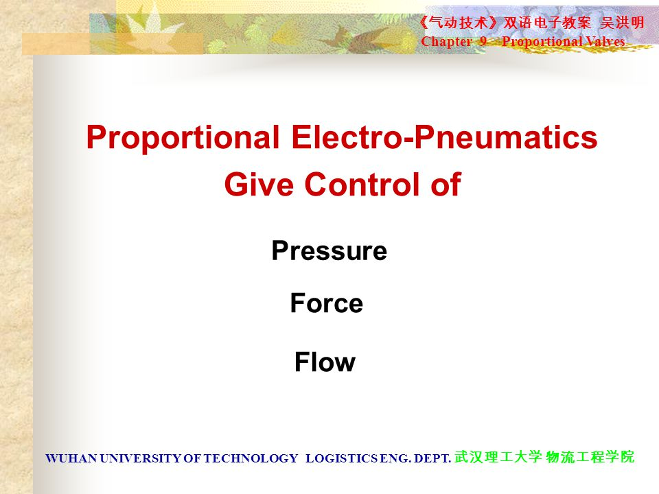 Proportional Electro-Pneumatics Give Control of Pressure Force Flow 《气动技术》双语电子教案 吴洪明 Chapter 9 Proportional Valves WUHAN UNIVERSITY OF TECHNOLOGY LOGISTICS ENG.