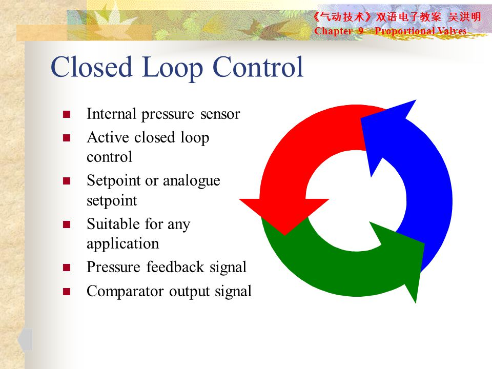 Closed Loop Control Internal pressure sensor Active closed loop control Setpoint or analogue setpoint Suitable for any application Pressure feedback signal Comparator output signal 《气动技术》双语电子教案 吴洪明 Chapter 9 Proportional Valves