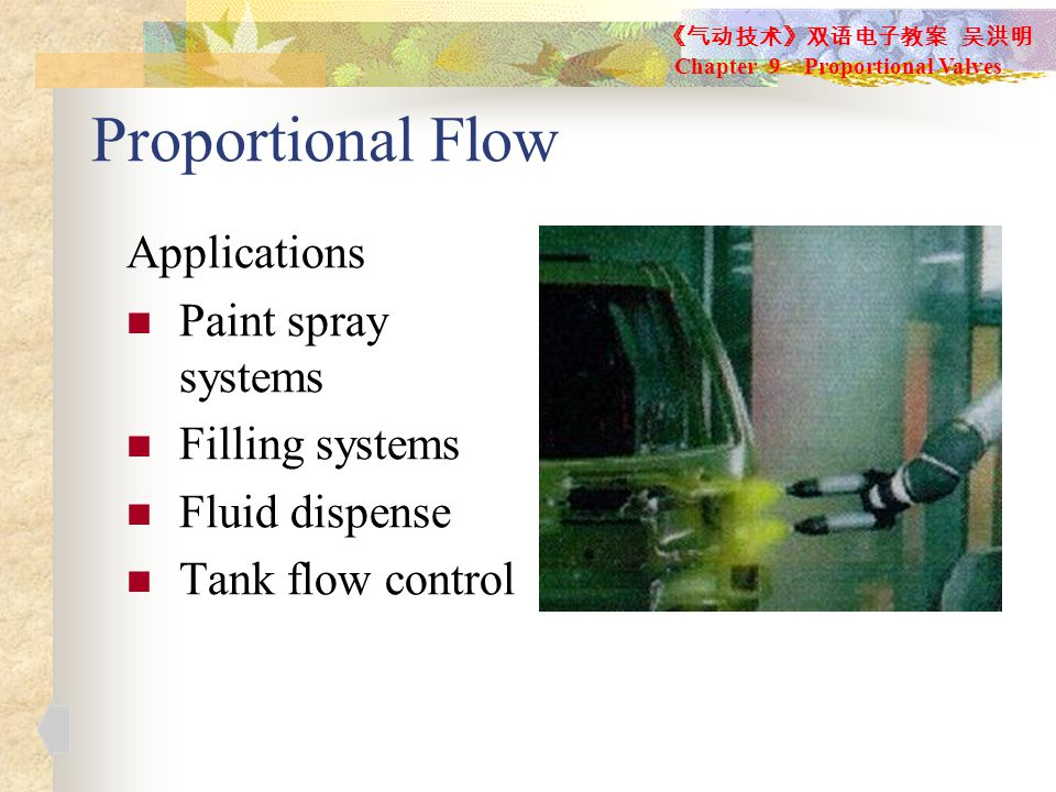 Proportional Flow Applications Paint spray systems Filling systems Fluid dispense Tank flow control 《气动技术》双语电子教案 吴洪明 Chapter 9 Proportional Valves