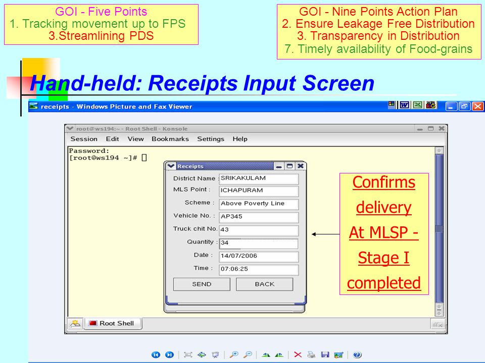 FCI 2 FPS – 2nd Stage MLSP : stage I receiving / stage II issuing point Stage I:handheld device sends SMS confirming receipts Stage II: SMS sent to Server/MRO on despatch of stocks 2nd intermediate point: MRO FPS : closing point  MRO Receives SMS of issues from MLSP  Checks & records against RO issued by him  Confirms with report of receipt by dealer  Confirms to DSO/RDO/MLSP/Server Above sequence closes 2 nd stage transaction and Enables making stage II transport payments As MRO's certificate is sent by SMS GOI - Nine Points Action Plan 2.