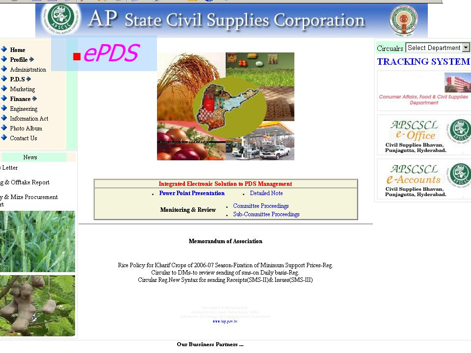 ePDS@Website:www.apscsc.gov.in URL www.apscsc.gov.in - for public domainwww.apscsc.gov.in Featured with various functions & Hyper link Dynamic Home Pa