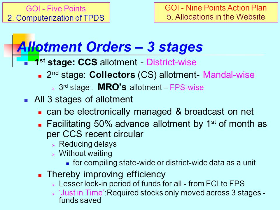 Electronic Transfer of Funds Electronic chain: to evolve parallel to PDS physical & financial chain Stage I: CSC to FCI to be enabled shortly – ED FCI