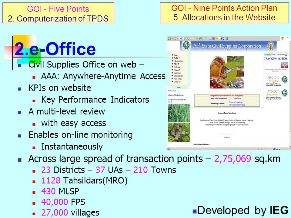 e-Release Order: On-line Module in e-Office e-RO : electronic copy of FPS-wise allocation Basic data unit of physical & financial chain Record of monthly releases by each Tahsildar(MRO)  FPS-wise  Commodity/Scheme-wise Existing MRO computer to be used or at eSeva  Accessible on internet – through APSWAN /INSTAXX  Against this database movement monitoring can be done, on one hand, and  Also strike off total sales against bar-coded coupons deposited by cardholders, on other hand,  So that FPS-wise CB can be calculated for issuing next month's allotment, which  Enables Allocations in the Website – GOI Action Point No.