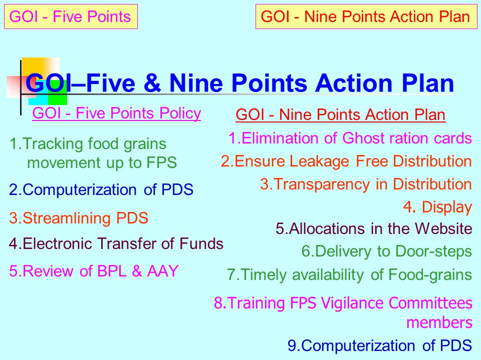 GOI : 5 Point Policy & 9 Point Action Plan Government of India communicated A Nine-point Action Plan  To curb leakages/diversions in PDS Five Point P