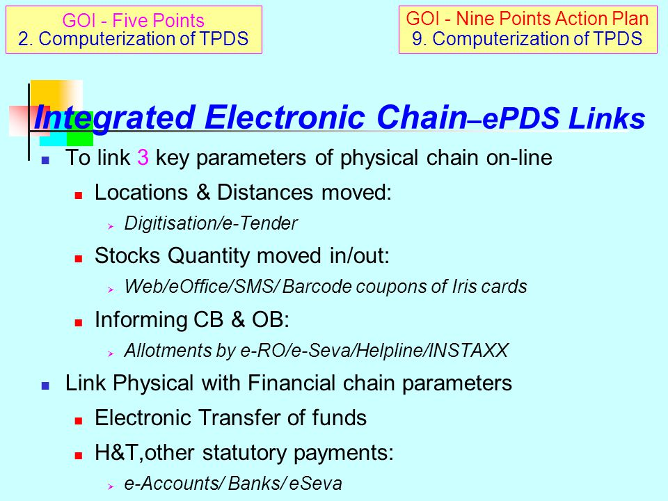 Integrated Electronic Chain- ePDS Solution Electronic supply chain Parallels PDS supply chain AAA Management Solution  From FCI to FPS to cardholder An Integrated Electronic Solution for PDS management from macro to micro levels for both physical monitoring, financial accounting reducing manual interface, plugging loopholes with participation of all stakeholders (public), and Complying with RTI Act fully GOI - Five Points 2.