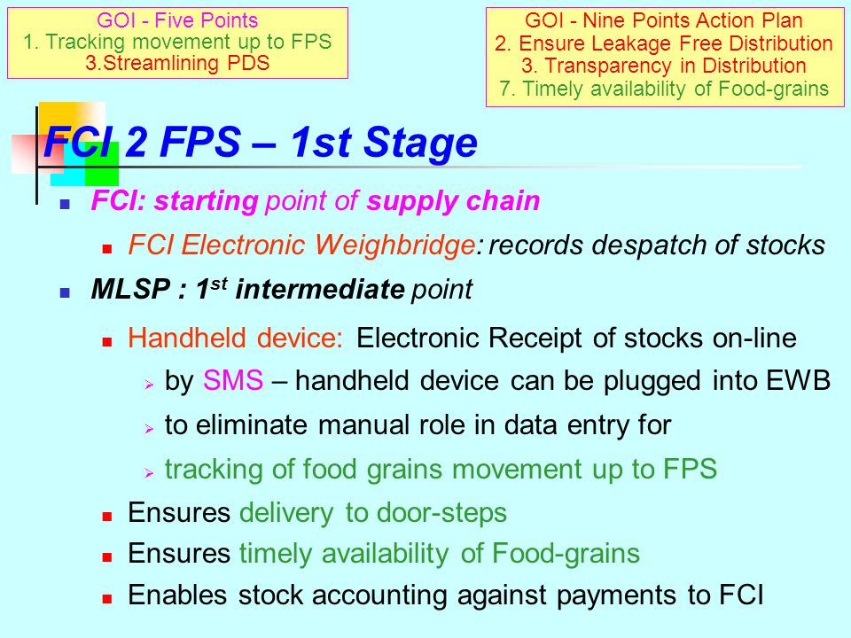 FCI 2 FPS – Movement in 3 Crucial Stages Supply & Distribution Chain Tracking movement in 3 stages from FCI 2 FPS 1 st stage: origin to intermediate p