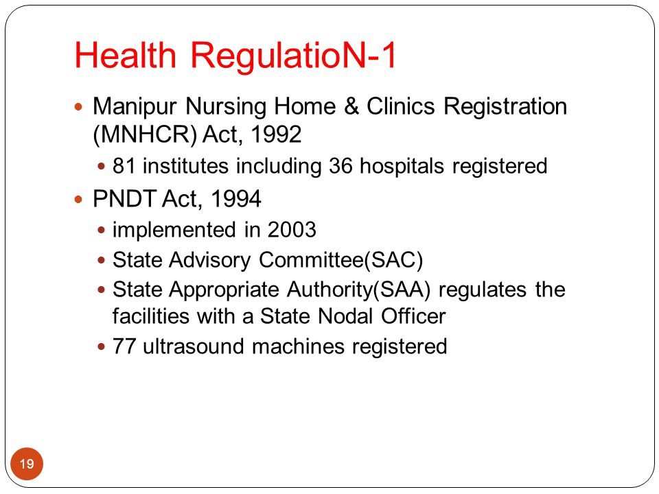 Health RegulatioN-1 19 Manipur Nursing Home & Clinics Registration (MNHCR) Act, 1992 81 institutes including 36 hospitals registered PNDT Act, 1994 im