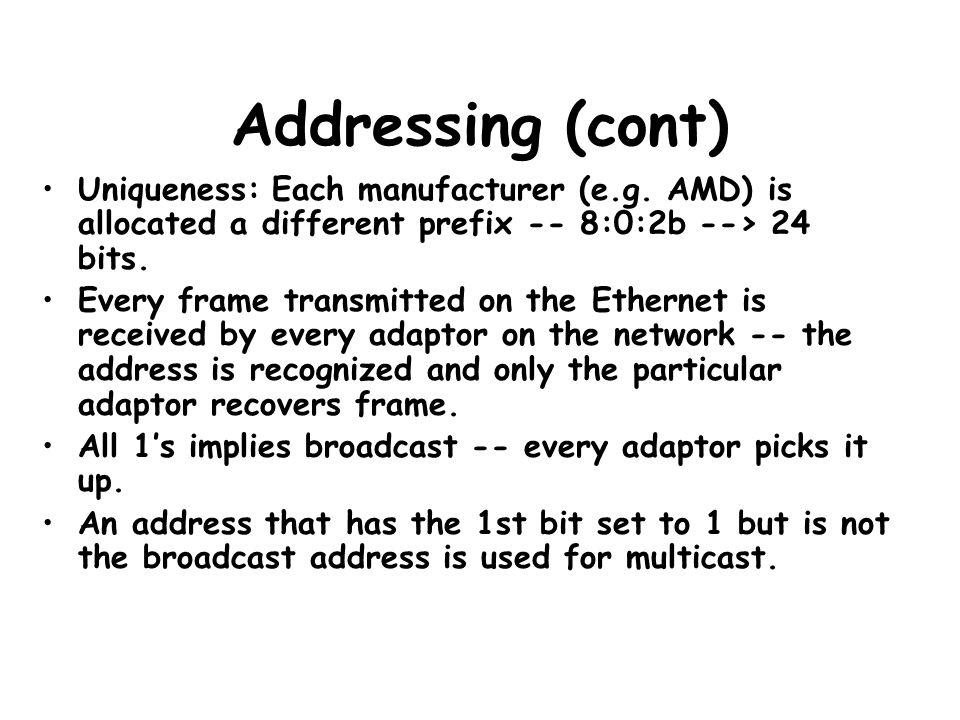 Addressing (cont) Uniqueness: Each manufacturer (e.g.