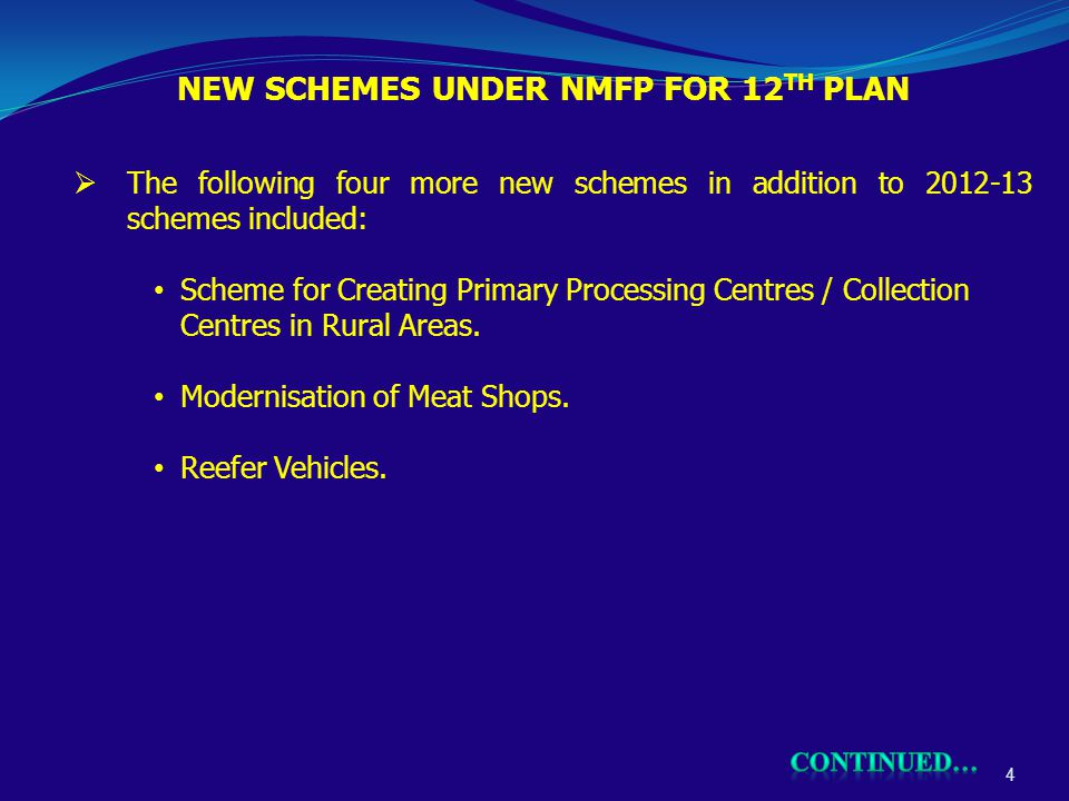 NEW SCHEMES UNDER NMFP FOR 12 TH PLAN 4  The following four more new schemes in addition to 2012-13 schemes included: Scheme for Creating Primary Processing Centres / Collection Centres in Rural Areas.