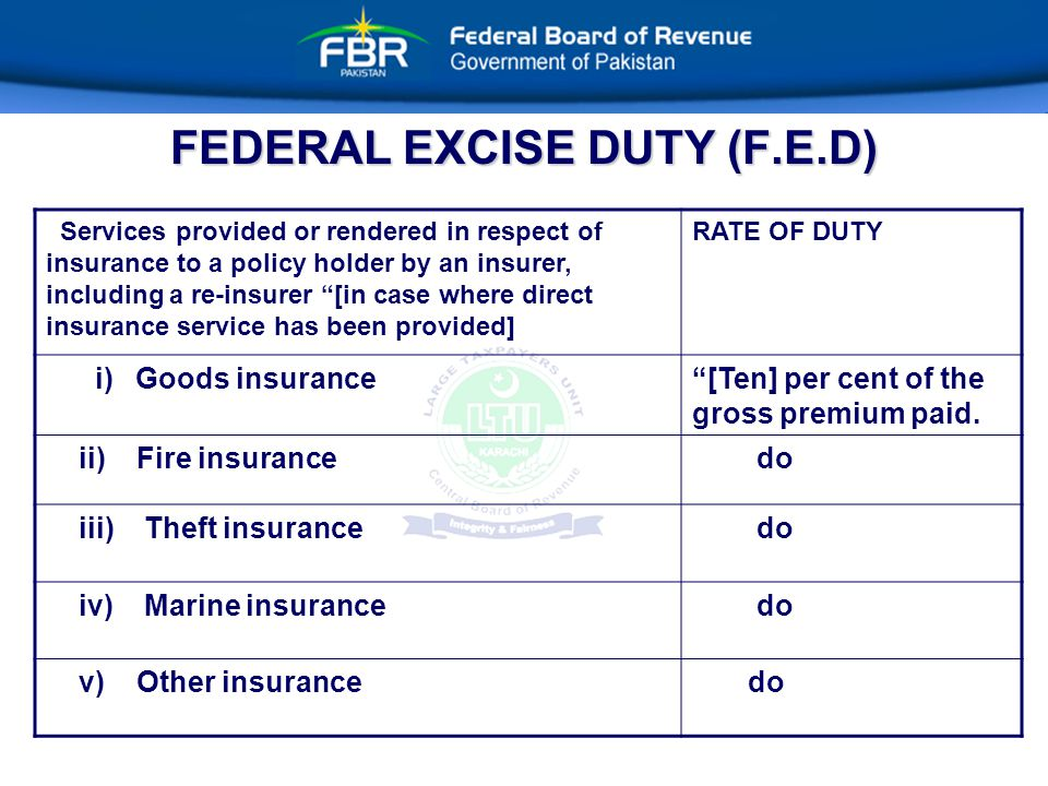 FEDERAL EXCISE DUTY (F.E.D) Services provided or rendered in respect of insurance to a policy holder by an insurer, including a re-insurer [in case where direct insurance service has been provided] RATE OF DUTY i) Goods insurance [Ten] per cent of the gross premium paid.