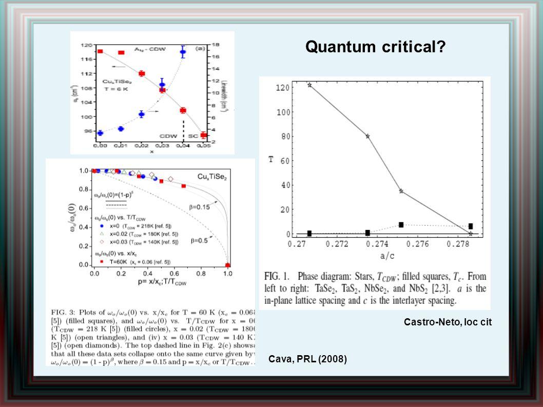 Quantum critical Castro-Neto, loc cit Cava, PRL (2008)