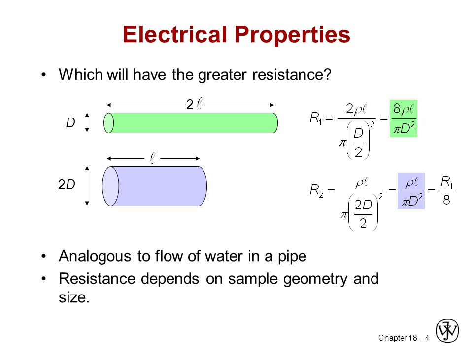 Chapter 18 - 4 Electrical Properties Which will have the greater resistance? Analogous to flow of water in a pipe Resistance depends on sample geometr