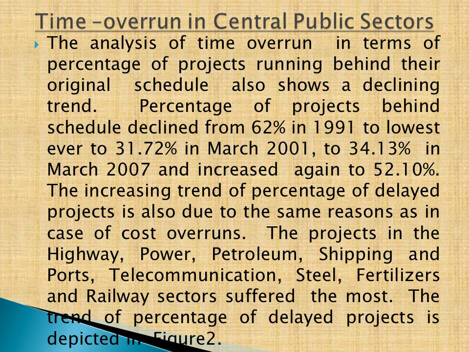  The analysis of time overrun in terms of percentage of projects running behind their original schedule also shows a declining trend.