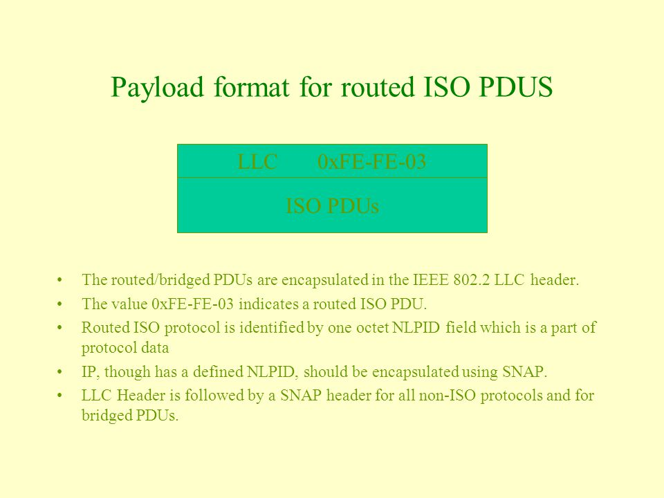 Payload format for routed ISO PDUS The routed/bridged PDUs are encapsulated in the IEEE 802.2 LLC header.