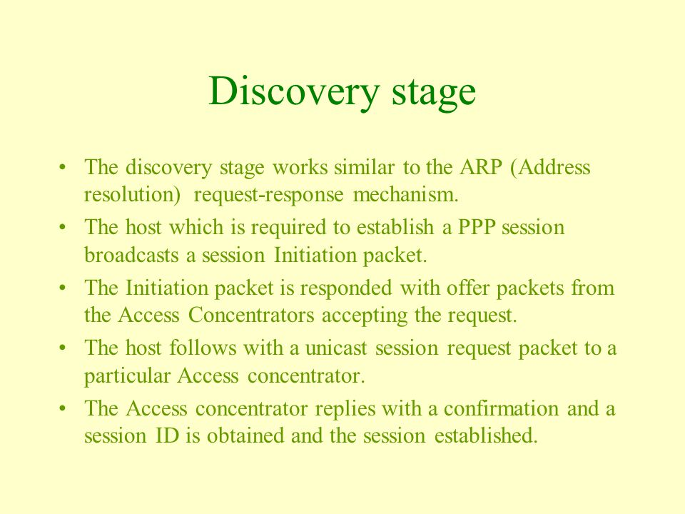 Discovery stage The discovery stage works similar to the ARP (Address resolution) request-response mechanism.