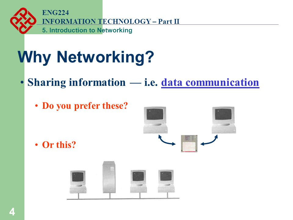 ENG224 INFORMATION TECHNOLOGY – Part II 5. Introduction to Networking 4 Why Networking.