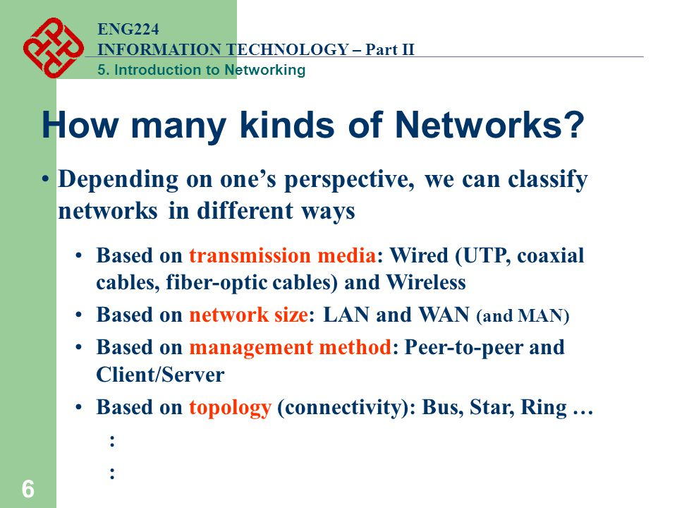ENG224 INFORMATION TECHNOLOGY – Part II 5. Introduction to Networking 6 How many kinds of Networks? Depending on one's perspective, we can classify ne