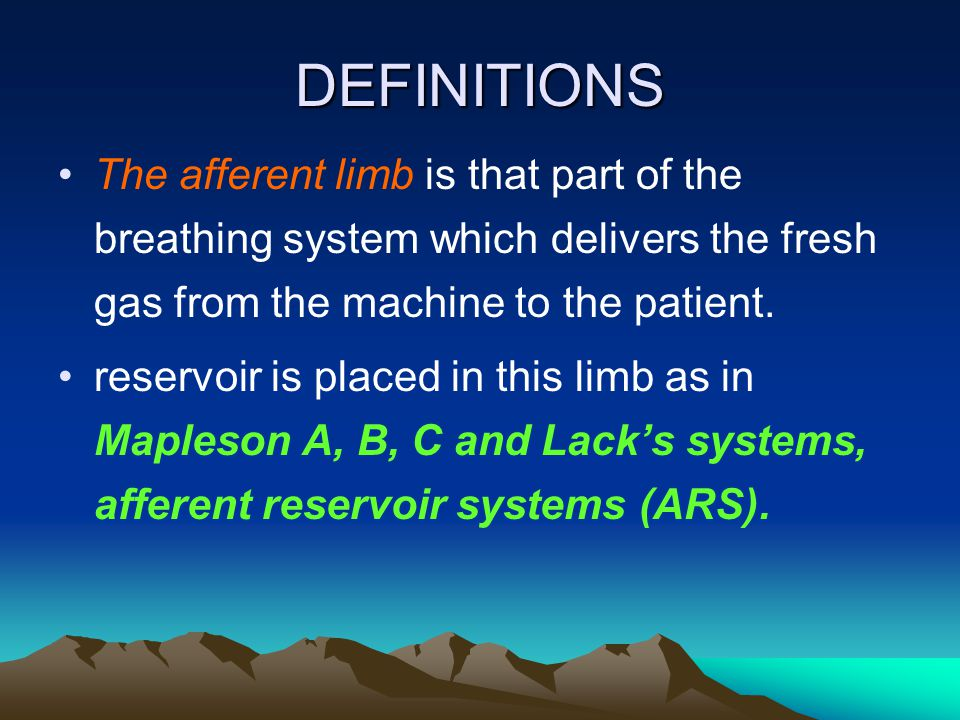 DEFINITIONS The afferent limb is that part of the breathing system which delivers the fresh gas from the machine to the patient. reservoir is placed i