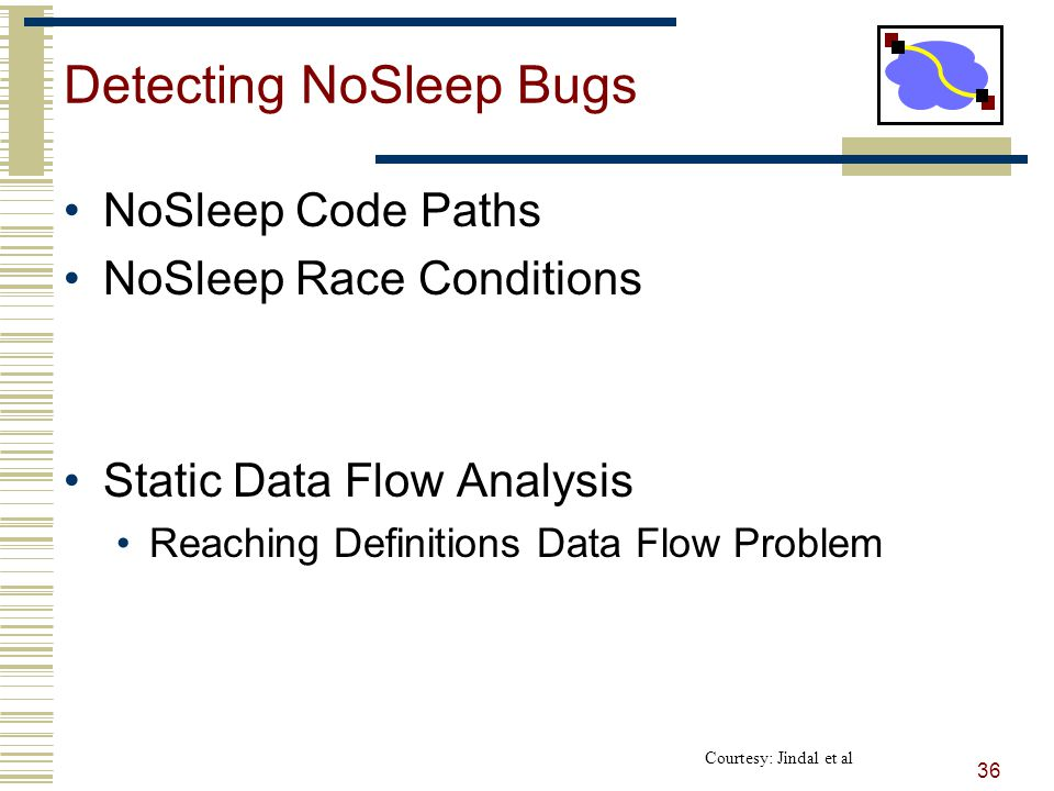 Detecting NoSleep Bugs NoSleep Code Paths NoSleep Race Conditions Static Data Flow Analysis Reaching Definitions Data Flow Problem 36 Courtesy: Jindal et al