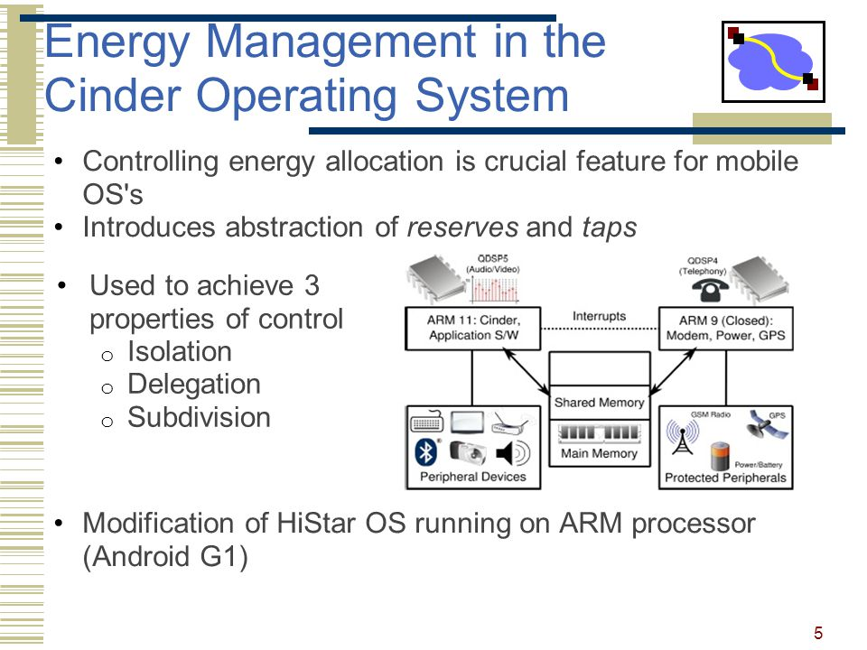 Energy Management in the Cinder Operating System Controlling energy allocation is crucial feature for mobile OS s Introduces abstraction of reserves and taps Modification of HiStar OS running on ARM processor (Android G1) Used to achieve 3 properties of control o Isolation o Delegation o Subdivision 5