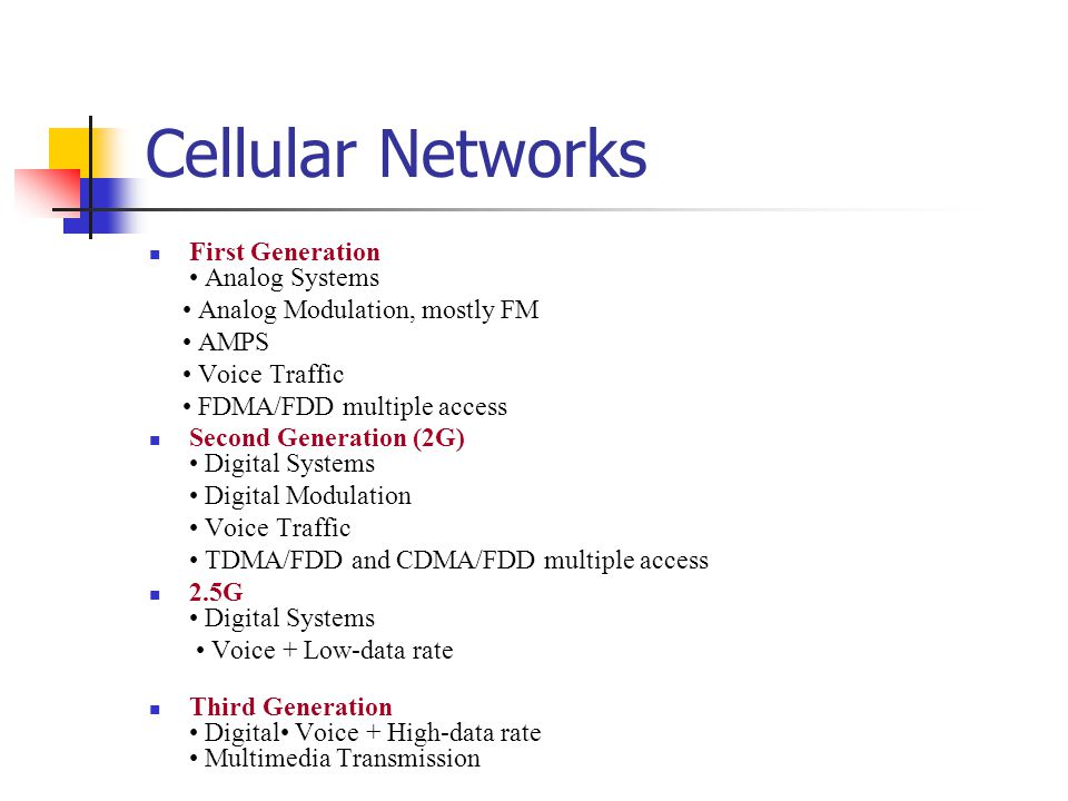 Cellular Networks First Generation Analog Systems Analog Modulation, mostly FM AMPS Voice Traffic FDMA/FDD multiple access Second Generation (2G) Digi