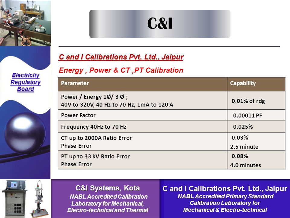 C and I Calibrations Pvt. Ltd., Jaipur Energy, Power & CT,PT Calibration Electricity Regulatory Board C&I ParameterCapability Power / Energy 1Ø/ 3 Ø ;