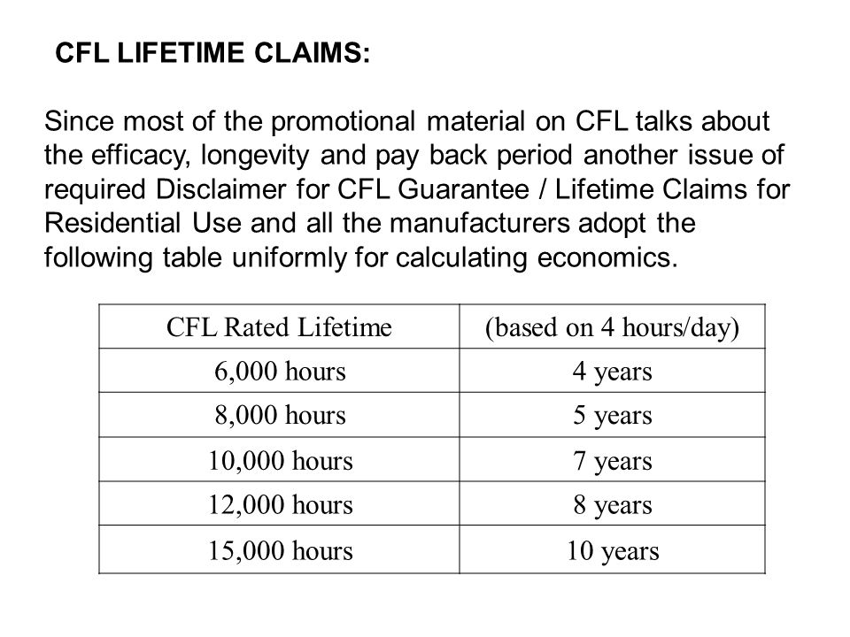 CFL LIFETIME CLAIMS: Since most of the promotional material on CFL talks about the efficacy, longevity and pay back period another issue of required D