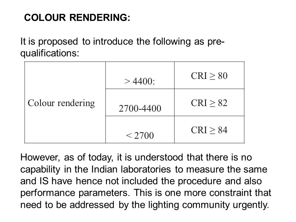 COLOUR RENDERING: It is proposed to introduce the following as pre- qualifications: Colour rendering > 4400: CRI ≥ 80 2700-4400 CRI ≥ 82 < 2700 CRI ≥ 84 However, as of today, it is understood that there is no capability in the Indian laboratories to measure the same and IS have hence not included the procedure and also performance parameters.