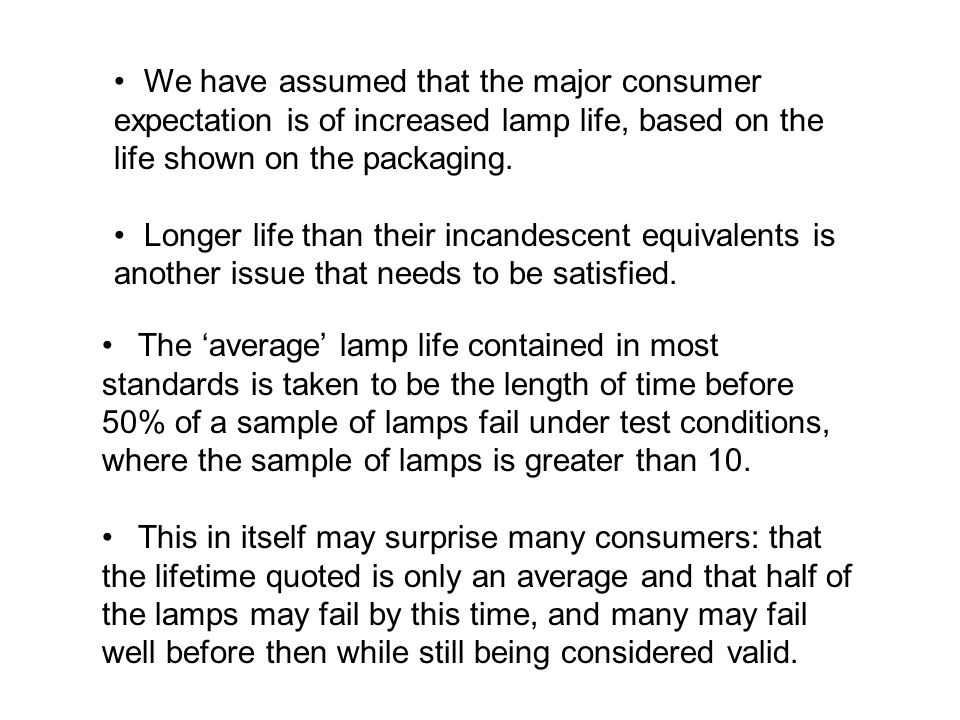 We have assumed that the major consumer expectation is of increased lamp life, based on the life shown on the packaging.